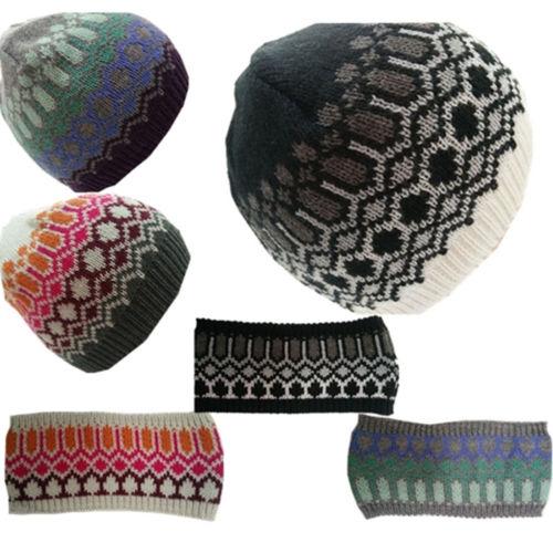 Wholesale ColorFulled Womens Winter Warm Crochet Ski jarquard Hat Beanie AND headband set