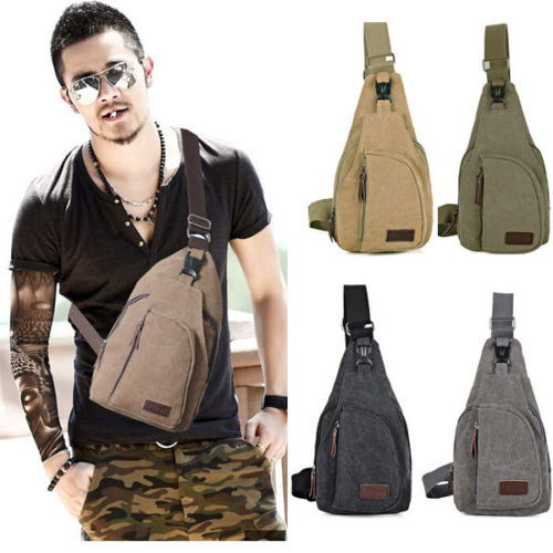 Wholesale Men s Canvas bag Military Messenger Shoulder Travel Cycling Hiking Chest pack Backpack