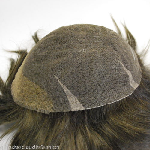 Wholesale stock full Swiss lace dark brown hairpiece for men hand made with human hair mens toupee hair system
