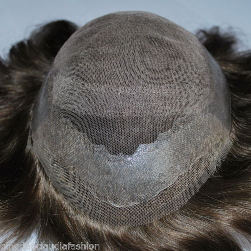 Wholesale hand made dark brown mens toupee hairpiece French lace front PU premium human hair