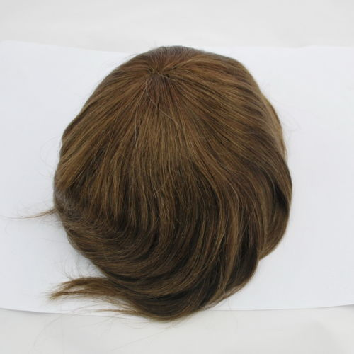 Wholesale the best ready hand made medium brown mens toupee full lace hair system human hairpiece