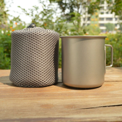 Cheap 450 ml Outdoor Camping Titanium Cup Noodles Pot Drinking Mug Folding Handle