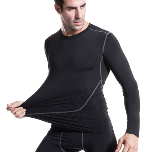 2017 New Mens Dry Fit Base Layer Compression Long Sleeve T Shirts for Gym and Yoga Free Shipping