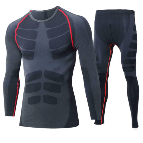 New Mens Dry Fit High Elastic Compression Gym and Running Long Sleeve T Shirt and Pants Free Shipping