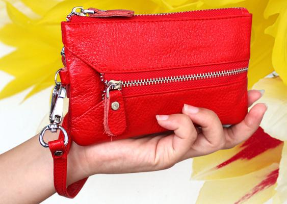 Wholesale Cowhide zero wallet key practical multi function female bag bag with small screens