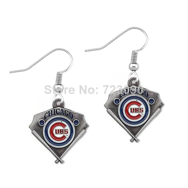 baseball earrings - pair a antique silver plated enamel single sided MLB Chicago Cubs team logo Baseball sports dangle earring
