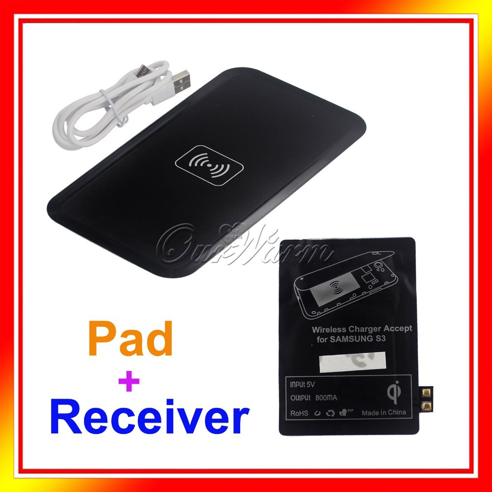 Wholesale Black Qi Wireless Charger Charging Pad Receiver Kit for Samsung Galaxy S3 S4 S5 Cell Phone Wholesales QI