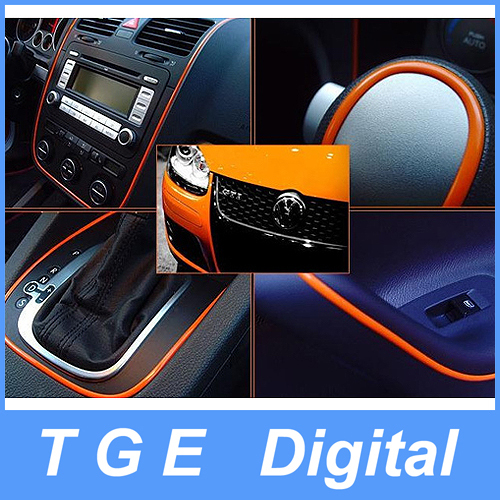 Wholesale 3M Car DIY Styling Interior Decorative Thread Sticker Moulding Trim Strip Line with D Effect for Car Decoration Orange Color
