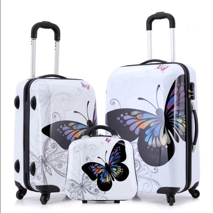 Wholesale Draw bar box ABS PC butterfly leopard zebra cow cartoon trolley suitcase universal wheel rod box girl
