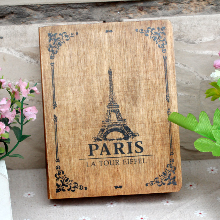 Wholesale Zakka Vintage wooden box desktop Paris tower Pattern storage box x14 x3 cm
