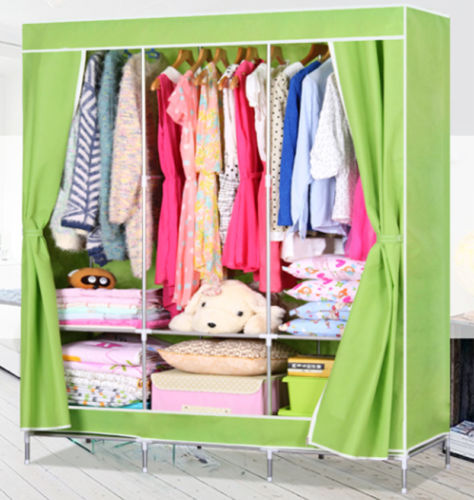 Wholesale Large Size Portable Wardrobe Closet Clothes Storage Home Furniture Rack Cabinet