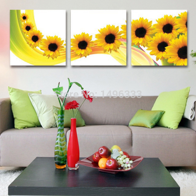Sewing Stitch - Crafts Hot Sale Yellow Smile Sunflower CT Sewing Triptych Cross Stitch Set for DIY Homemade Needlework Embroidery kits Gift for Home Decor