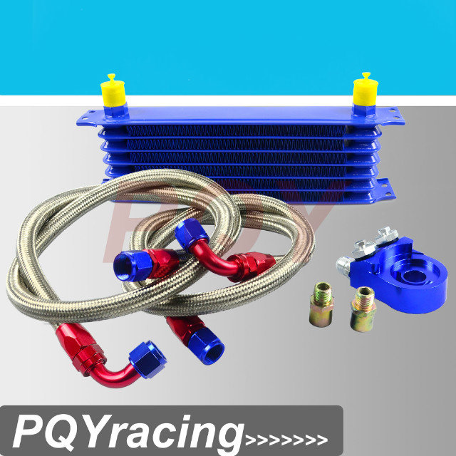 Wholesale J2 RACING STORE UNIVERSAL ROWS OIL COOLER KIT OIL FILTER SANDWICH ADAPTER STAINLESS STEEL BRAIDED OIL HOSE BLUE