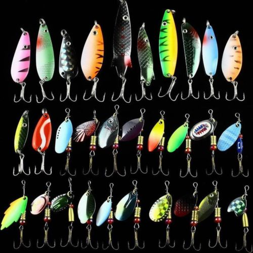 Wholesale 30pcs Fishing Lure kit set Mixed color Size Weight Diving depth Metal Spoon Spinner Lure carp fishing tackle isca artificial