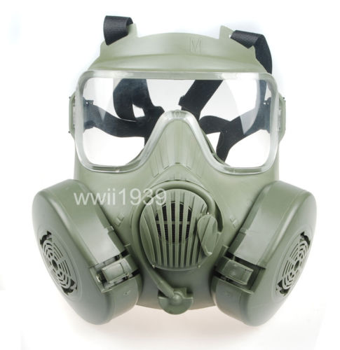 Wholesale TACTICAL AIRSOFT PAINTBALL FULL FACE SKULL GAS MASK M50 GREEN