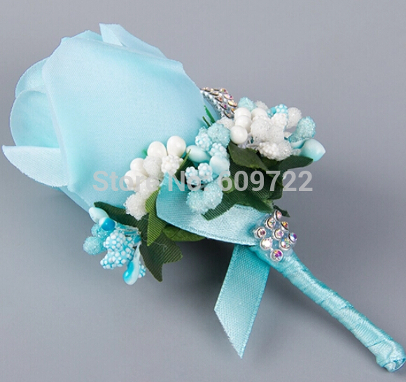 berry pins - 6pcs Fabric Prom Wedding Dance Decor Artificial Rose Rhinestone Pip Berry Groom Boutonniere Corsage Flower Pin Tif Blue FL1740