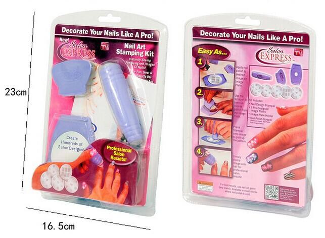 Cheap DIY Nail Printing Kit And Creative New Manicure Set Fashion And Dazzling Nails Art Equipment Stamping Nail Tools 5sets