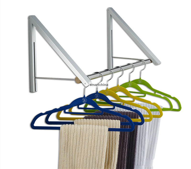 Wholesale One Set New Style Space Aluminum Folding Retractable Balcony Show Room Racks Wall Clothes Hanger Rack