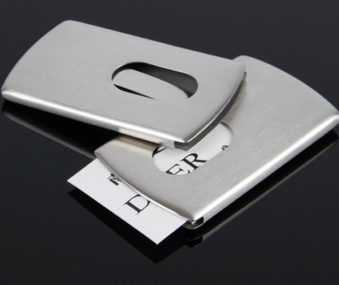 Wholesale 5PCS Thumb Slide Out Stainless Steel Silver Aluminium Business ID Name Credit Card Holder Modern Case Cover