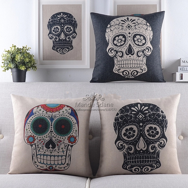 Cheap 2PCS Lot Skull Vintage Linen Cotton Throw Pillow Case Sofa Bed Home Decor Cushion Cover 45x45CM Free Shipping