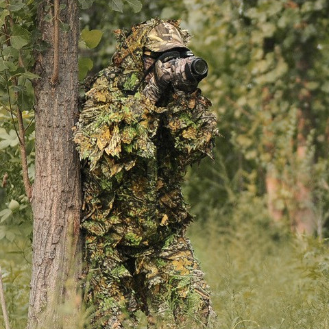 Wholesale New Bionic Ghillie Suits maple leaf camouflage hunting suit Recon Paintball Airsoft Photographing Military clothes