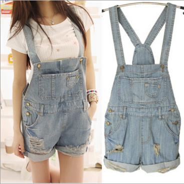 bib overall vintage - Summer Womens Plus Size Denim Jumpsuit BiB Overalls Shorts Vintage Denim Romper Casual Hole Destroyed Jean Jumpsuit for Woman