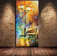 park bench - Hand Painted park bench night view street landscape knife oil painting wall art canvas