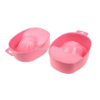 Cheap Wholesale-1Pcs Pink Nail Hand Soak Bowl Nail Art Equipment Tray