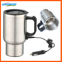 auto thermos - New V ml Silver Stainless Steel Car Heating Cup Car Electric Mug Thermos Type Heating Hot Drink Travel Cup Auto supplies