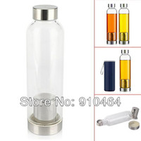 Wholesale Glass water bottle with tea infuser ml Outdoor sports filter tea bottle fashionable sport partner prevent leakage