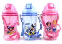 achat en gros de princesse gros eau tasses-Gros-2pcs / lot en plastique gros tasses d'eau de bande dessinée bouteille en plastique de gorge voyage bouteille nouveauté mignon mickey bouteilles princesse 400ml