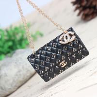 Cheap Wholesale-Lovely Black Handbag Crystal Rhinestone Charm Pendant Purse Bag Car Key Ring Chain New Birthday Wedding Party Gift
