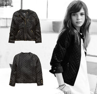baby motorcycle jackets - Brand Girls Clothes Fashion Lozenge Motorcycle Baby Girls Leather Jacket For Age Years Old