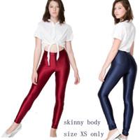 aa disco pant - Brand Hight Waist Neon AA Pants for School Slim Girl Colours Disco Shiny Pants for Teenage
