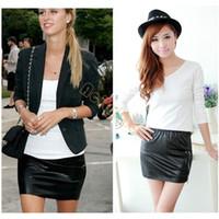 high waisted shorts - Women Black Faux Leather Mini Skirt High Waisted Short Pencil Shirts
