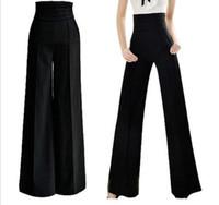 Cheap Wholesale-Lady Career Slim High Waist Flare Wide Leg Long Pants Palazzo Trousers Black