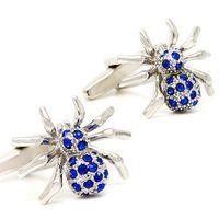 Gros-Fashion Crystal Blue Design Araignée Cufflinks Cuff clous shirt Costume de mariage Boutons de manchette Nouvelle de Commerce de gros pour hommes