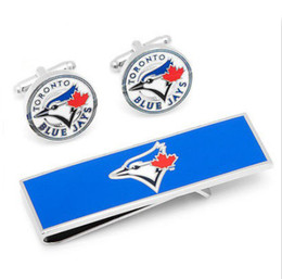 Wholesale-MLB Baseball Toronto Blue Jays Cufflinks Money Clip Gift Set Free Shipping For Men Shirt and Wallet accessories CF0733
