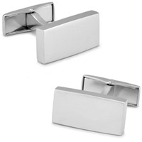 b cufflinks - SPARTA Silver Color plated frosted white White steel rectangle cufflinks B