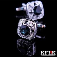 Wholesale Color KFLK Jewelry shirt cufflink for mens Brand cuff buttons Crystal cuff link High Quality Wedding abotoaduras