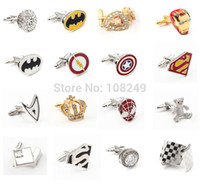 Wholesale Stainless Steel Crystal Mens Cufflinks Spider Man Iron Man Crown Super Man Wedding Gift Mens Shirt Cuff Links Accessories