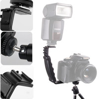 Cheap Wholesale-DV bracket Tray Dual Hot shoe L-shaped Flash Bracket for DSLR Camera and Camcorders Photo Studio Accessories