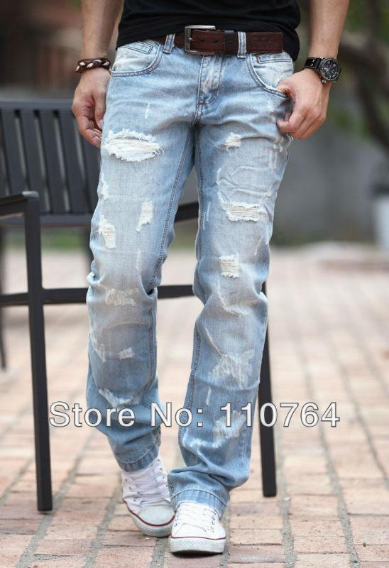 Wholesale-2015 Hot Sale Men's Hole Jeans Pants Top Ripped Design ...