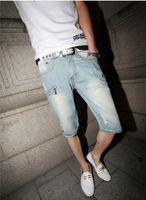 Cheap Wholesale-New 2015 Fashion Summer Denim shorts hole Men's Jeans capris Men straight knee-length pants trousers ripped jeans S68G