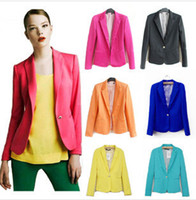 business suits - New Winter Women s Brand Candy Color Single Button Blazers And Jackets Long Sleeve Slim Business Suits Plus Size