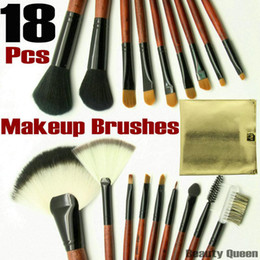 Wholesale - 18 pcs PRO MAKEUP COSMETIC BRUSHES SET PONY GOAT HAIR Golden Bag Leather Pouch FREE SHIP