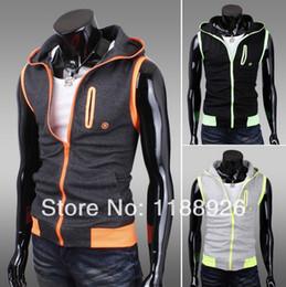 Wholesale New Best Quality Men s Hoodie Zippers College Style Knit Vest Hooded Slim Tank Tops Undershirt