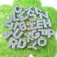 Wholesale 130pcs mm A Z Full rhinestone Slide letters DIY letters DIY Charmfit pet collar