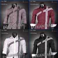 al por mayor diseñador de la marca jeansian--Jeansian mayor de la venta de los hombres calientes del algodón de la marca de fábrica Camisa del diseñador vestido delgado apto de las camisas casuales Tops 4 colores occidentales S M L XL XXL