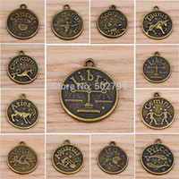 zodiac charms - Zodiac Signs Vintage Bronze Tone Sign Dangle Charms Bead Pendants